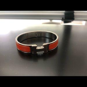 Hermès orange silver bracelet